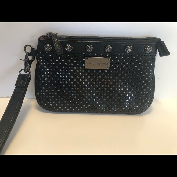 Betsey Johnson Handbags - Betsy Johnson Black Wristlet Rose Studded